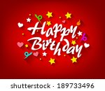happy birthday card with star ... | Shutterstock . vector #189733496