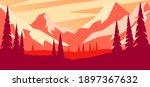 cartoon mountain landscape in... | Shutterstock . vector #1897367632