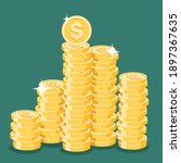 set of cent coins in flat style.... | Shutterstock . vector #1897367635