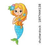 mermaid character cartoon  cute ... | Shutterstock .eps vector #1897444138