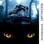 Haunted House In Night Forest....