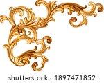 Golden baroque ornament on...