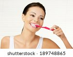 woman with great teeth holding... | Shutterstock . vector #189748865