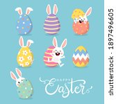 happy easter greeting card with ... | Shutterstock .eps vector #1897496605