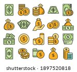 dollar bank  dollar coin icons... | Shutterstock .eps vector #1897520818