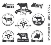 set of black beef labels in... | Shutterstock .eps vector #189757712
