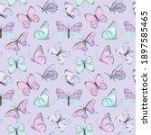 seamless vector butterfly... | Shutterstock .eps vector #1897585465