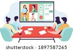 office workers at the video... | Shutterstock .eps vector #1897587265