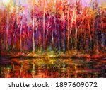 oil painting colorful autumn... | Shutterstock . vector #1897609072