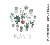 house plants arranged in circle ... | Shutterstock .eps vector #1897650328