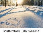 Drawn Heart In A Snow Landscape....
