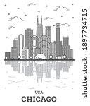 Outline Chicago Illinois Usa...