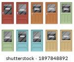 shop door with open and closed...   Shutterstock .eps vector #1897848892
