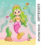 mermaid princess underwater... | Shutterstock .eps vector #1897855855