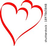 two red hearts   contour...   Shutterstock .eps vector #1897865848