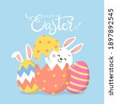 happy easter greeting card with ... | Shutterstock .eps vector #1897892545