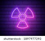 Glowing Neon Radioactive Icon...