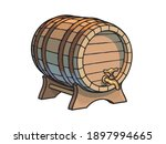 old wooden barrel with tap on... | Shutterstock .eps vector #1897994665
