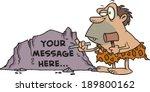 Cartoon Caveman Chiseling Into...
