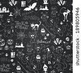 vector chalkboard halloween... | Shutterstock .eps vector #189805946