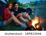 young couple sitting on the... | Shutterstock . vector #189813446
