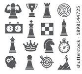chess icons set on white...   Shutterstock . vector #1898144725