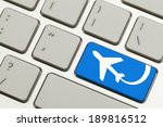 close up of blue key with... | Shutterstock . vector #189816512