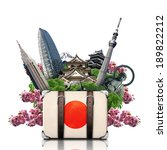 Small photo of Japan, japan landmarks, travel and retro suitcase
