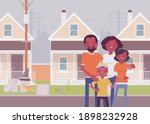 happy black family standing in... | Shutterstock .eps vector #1898232928
