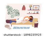 tired and happy mom with... | Shutterstock .eps vector #1898235925