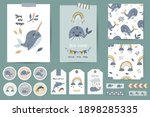 set of cards  notes  stickers ... | Shutterstock .eps vector #1898285335