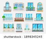 Balconies With Windows Vector...