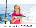 Blond Kid Girl Fishing Tuna...