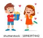 cute boy give present to little ... | Shutterstock .eps vector #1898397442