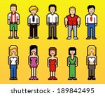 set of pixel art style people... | Shutterstock .eps vector #189842495