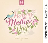 happy mothers day  greeting... | Shutterstock .eps vector #189844016