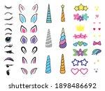 set of unicorn creation kit.... | Shutterstock .eps vector #1898486692