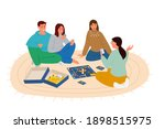 group of friends playing board...   Shutterstock .eps vector #1898515975