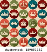 Crowns vintage set. Seamless pattern.