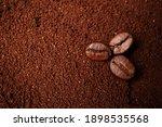 Closeup Of Three Coffee Beans...