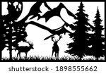 deer in the wild. divider panel.... | Shutterstock .eps vector #1898555662