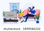couple on sofa   man and woman... | Shutterstock .eps vector #1898586232