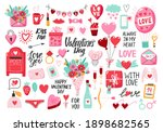valentine's day set with heart... | Shutterstock .eps vector #1898682565