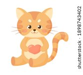 cute baby cat with heart. funny ... | Shutterstock .eps vector #1898743402