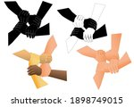 four hands holding each other.... | Shutterstock .eps vector #1898749015