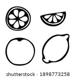 vector set of hand drawn lemon... | Shutterstock .eps vector #1898773258