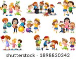 set of different kid playing... | Shutterstock .eps vector #1898830342