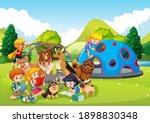playground outdoor scene with... | Shutterstock .eps vector #1898830348