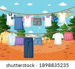 clothes hanging on line in the... | Shutterstock .eps vector #1898835235