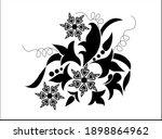 vintage floral art with leaves... | Shutterstock .eps vector #1898864962
